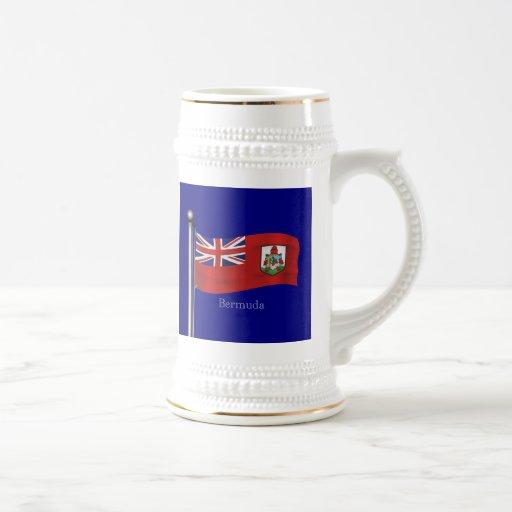 Bandera que agita de Bermudas Jarra De Cerveza