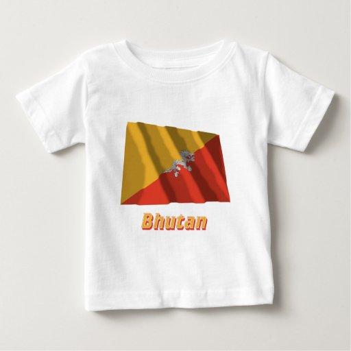 Bandera que agita de Bhután con nombre Playera De Bebé
