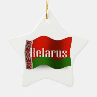 Bandera que agita de Bielorrusia Adorno Navideño De Cerámica En Forma De Estrella
