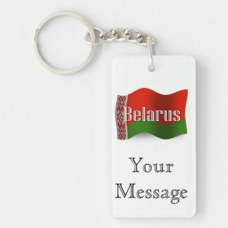 Bandera que agita de Bielorrusia Llavero Rectangular Acrílico A Doble Cara