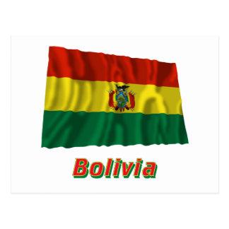 Bandera que agita de Bolivia con nombre Postal
