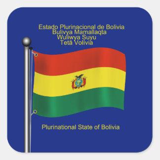 Bandera que agita de Bolivia Calcomanía Cuadrada