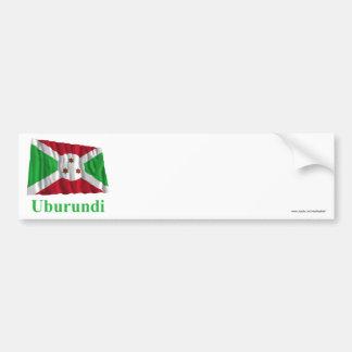 Bandera que agita de Burundi con nombre en Kirundi Pegatina Para Auto
