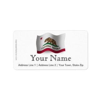 Bandera que agita de California Etiquetas De Dirección