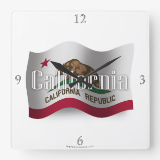 Bandera que agita de California Reloj Cuadrado
