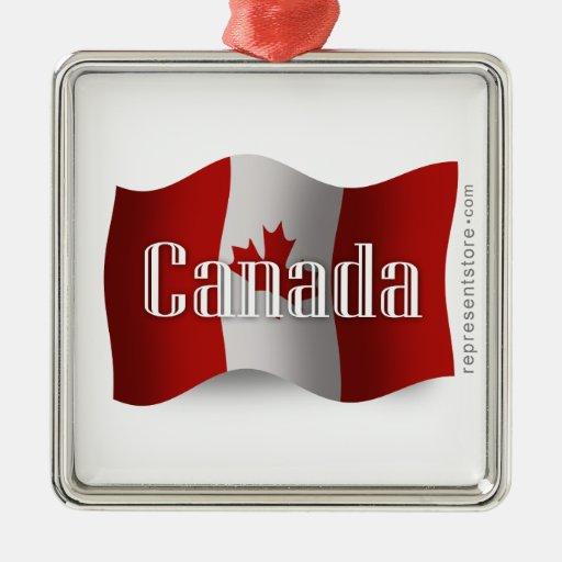 Bandera que agita de Canadá Adorno Navideño Cuadrado De Metal
