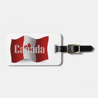 Bandera que agita de Canadá Etiqueta De Maleta
