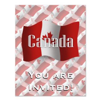 """Bandera que agita de Canadá Invitación 4.25"""" X 5.5"""""""