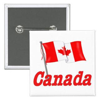 Bandera que agita de Canadá Pin Cuadrado