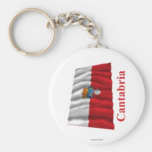 Bandera que agita de Cantabria con nombre Llavero Redondo Tipo Pin