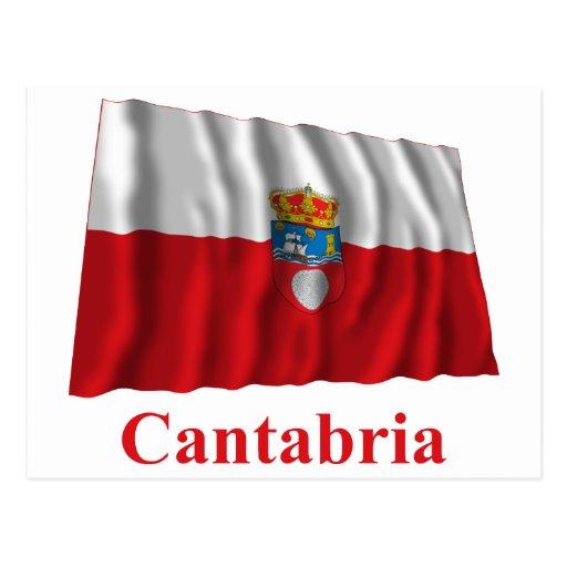 Bandera que agita de Cantabria con nombre Tarjetas Postales