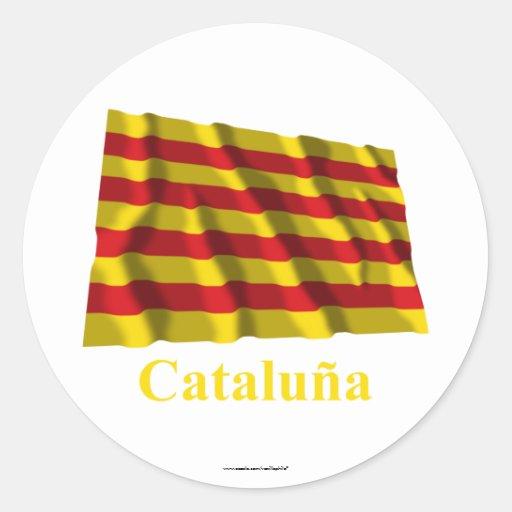 Bandera que agita de Cataluña con nombre Etiqueta Redonda