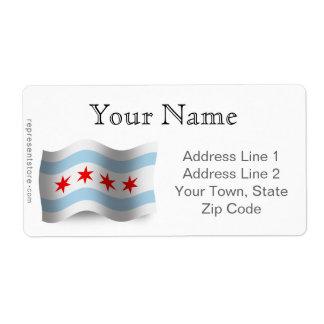 Bandera que agita de Chicago Etiquetas De Envío