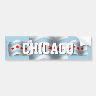 Bandera que agita de Chicago Pegatina Para Auto