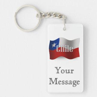 Bandera que agita de Chile Llavero Rectangular Acrílico A Doble Cara