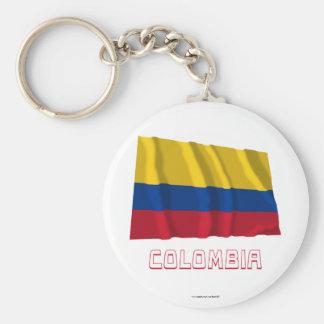 Bandera que agita de Colombia con nombre Llaveros