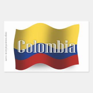 Bandera que agita de Colombia Pegatina Rectangular