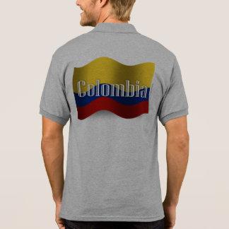 Bandera que agita de Colombia Playeras Polo