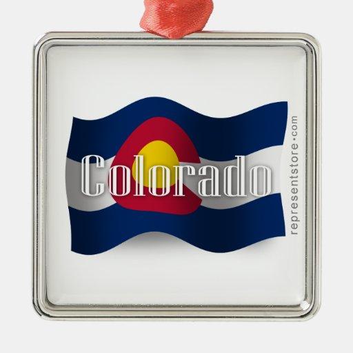 Bandera que agita de Colorado Adorno Cuadrado Plateado