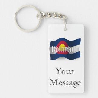 Bandera que agita de Colorado Llavero Rectangular Acrílico A Doble Cara