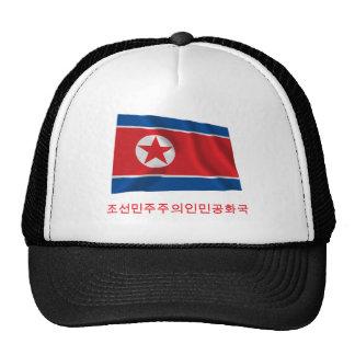 Bandera que agita de Corea del Norte con nombre en Gorros Bordados
