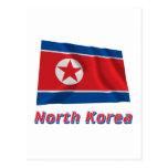 Bandera que agita de Corea del Norte con nombre Postales