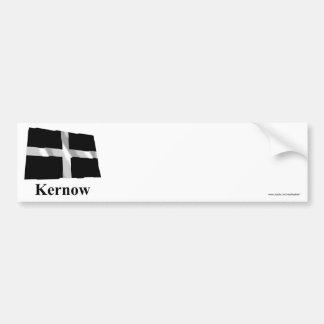 Bandera que agita de Cornualles con nombre en de C Pegatina Para Auto