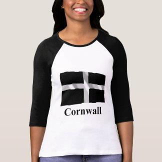 Bandera que agita de Cornualles con nombre Camiseta
