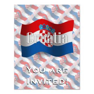 """Bandera que agita de Croacia Invitación 4.25"""" X 5.5"""""""