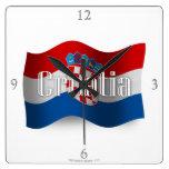 Bandera que agita de Croacia Relojes De Pared