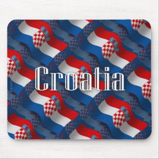 Bandera que agita de Croacia Tapetes De Ratones