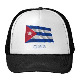 Bandera que agita de Cuba con nombre Gorros Bordados