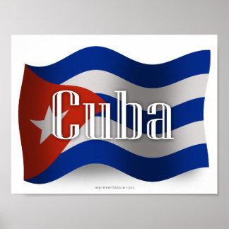 Bandera que agita de Cuba Impresiones