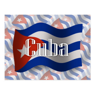 Bandera que agita de Cuba Tarjeta Postal