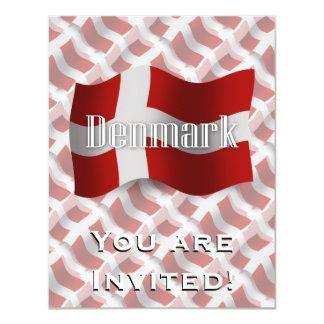"""Bandera que agita de Dinamarca Invitación 4.25"""" X 5.5"""""""