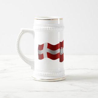 Bandera que agita de Dinamarca Jarra De Cerveza