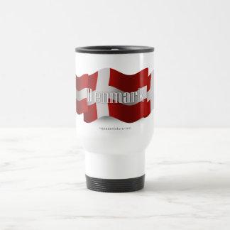Bandera que agita de Dinamarca Taza De Viaje De Acero Inoxidable