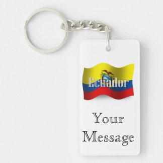Bandera que agita de Ecuador Llavero Rectangular Acrílico A Doble Cara