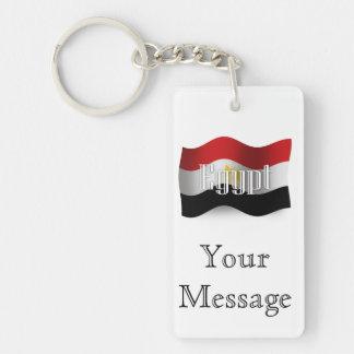 Bandera que agita de Egipto Llavero Rectangular Acrílico A Doble Cara