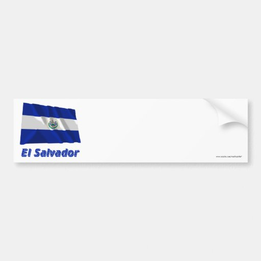 Bandera que agita de El Salvador con nombre Pegatina De Parachoque
