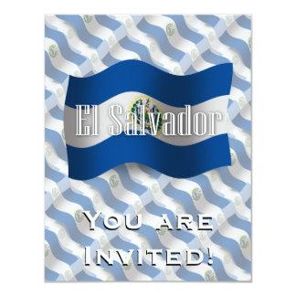 """Bandera que agita de El Salvador Invitación 4.25"""" X 5.5"""""""