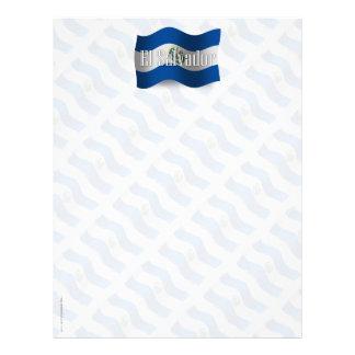 Bandera que agita de El Salvador Membrete Personalizado