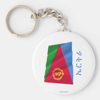 Bandera que agita de Eritrea con nombre en Tigriny Llavero Redondo Tipo Pin