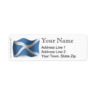 Bandera que agita de Escocia Etiqueta De Remitente