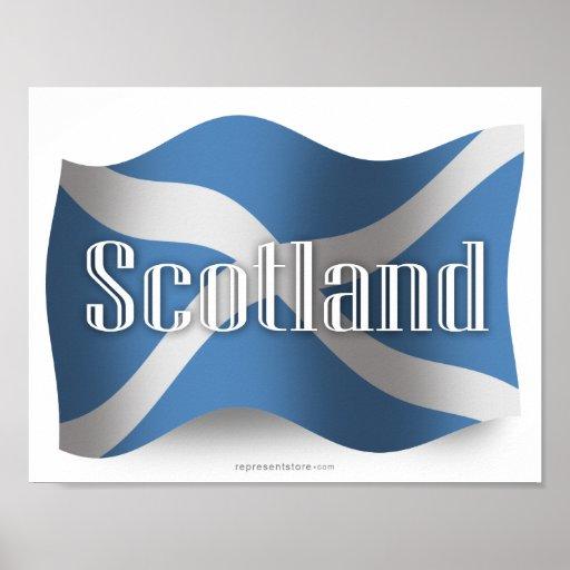 Bandera que agita de Escocia Póster
