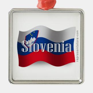 Bandera que agita de Eslovenia Adorno Navideño Cuadrado De Metal