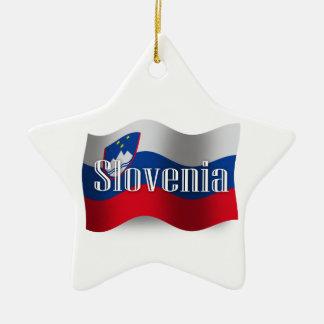 Bandera que agita de Eslovenia Adorno Navideño De Cerámica En Forma De Estrella