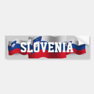 Bandera que agita de Eslovenia Pegatina De Parachoque