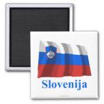 Bandera que agita de Eslovenia con nombre en eslov Iman De Nevera