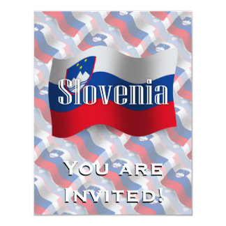"""Bandera que agita de Eslovenia Invitación 4.25"""" X 5.5"""""""